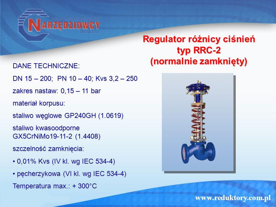 www.reduktory.com.pl Regulator różnicy ciśnień typ RRC-2 (normalnie zamknięty) DANE TECHNICZNE: DN 15 – 200; PN 10 – 40; Kvs 3,2 – 250 zakres nastaw: