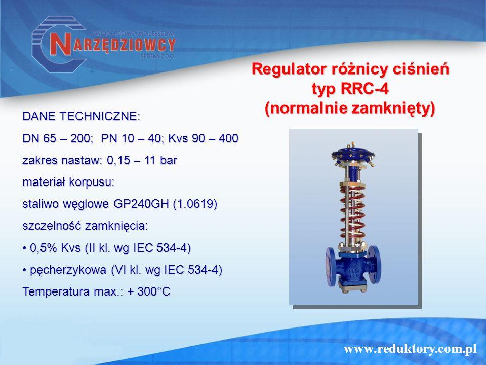www.reduktory.com.pl Regulator różnicy ciśnień typ RRC-4 (normalnie zamknięty) DANE TECHNICZNE: DN 65 – 200; PN 10 – 40; Kvs 90 – 400 zakres nastaw: 0
