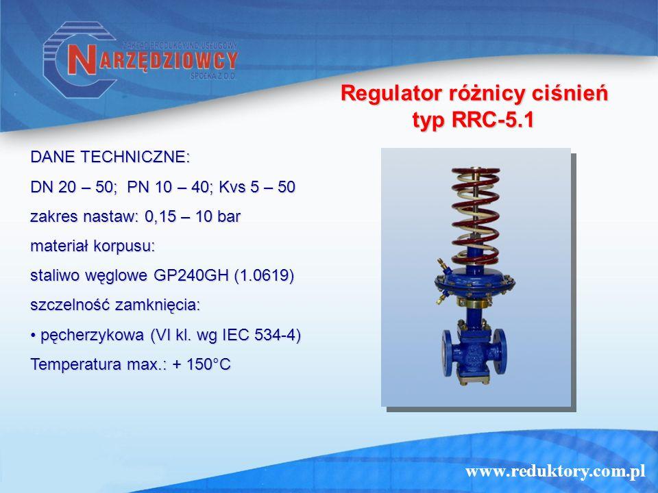 www.reduktory.com.pl Regulator różnicy ciśnień typ RRC-5.1 DANE TECHNICZNE: DN 20 – 50; PN 10 – 40; Kvs 5 – 50 zakres nastaw: 0,15 – 10 bar materiał k
