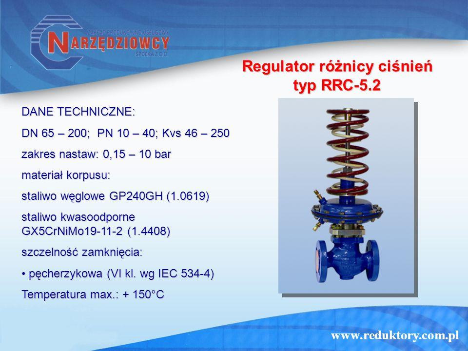 www.reduktory.com.pl Regulator różnicy ciśnień typ RRC-5.2 DANE TECHNICZNE: DN 65 – 200; PN 10 – 40; Kvs 46 – 250 zakres nastaw: 0,15 – 10 bar materiał korpusu: staliwo węglowe GP240GH (1.0619) staliwo kwasoodporne GX5CrNiMo19-11-2 (1.4408) szczelność zamknięcia: pęcherzykowa (VI kl.