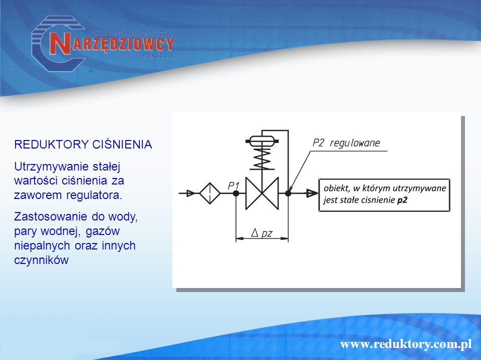 www.reduktory.com.pl REGULATORY UPUSTOWE Utrzymywanie stałej wartości ciśnienia przed zaworem regulatora.