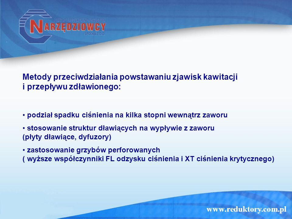 www.reduktory.com.pl Metody przeciwdziałania powstawaniu zjawisk kawitacji i przepływu zdławionego: podział spadku ciśnienia na kilka stopni wewnątrz