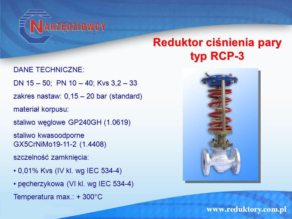 www.reduktory.com.pl Regulator upustowy typ RC-5 DANE TECHNICZNE: DN 15 – 200; PN 10 – 40; Kvs 3,2 – 250 zakres nastaw: 0,15 – 20 bar (standard) materiał korpusu: staliwo węglowe GP240GH (1.0619) staliwo kwasoodporne GX5CrNiMo19-11-2 (1.4408) szczelność zamknięcia: 0,01% Kvs (IV kl.