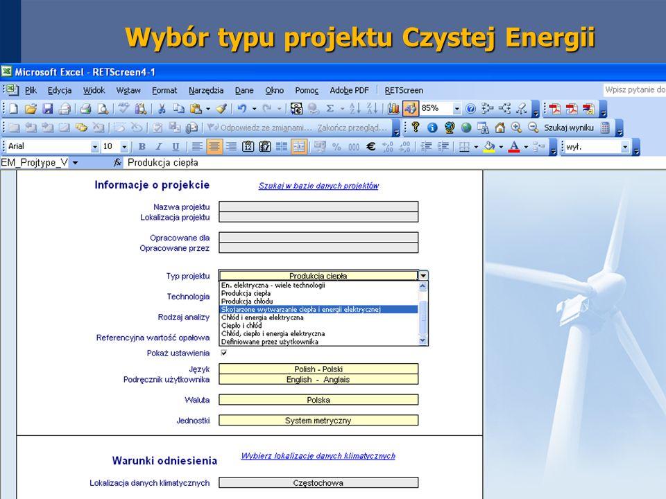 Wybór typu projektu Czystej Energii