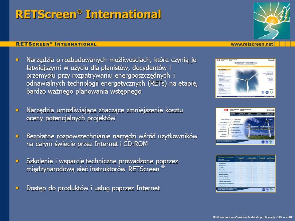 RETScreen ® Model do analizy redukcji emisji GHG Znormalizowana metodologia opracowana przez NRCan we współpracy z Programem Środowiskowym Organizacji Narodów Zjednoczonych (UNEP), UNEP RISØ Centrum Energii, Climate and Sustainable Development (URC) oraz Prototypowym Funduszem Węglowym Banku Światowego (PCF) Znormalizowana metodologia opracowana przez NRCan we współpracy z Programem Środowiskowym Organizacji Narodów Zjednoczonych (UNEP), UNEP RISØ Centrum Energii, Climate and Sustainable Development (URC) oraz Prototypowym Funduszem Węglowym Banku Światowego (PCF) Model zatwierdzony przez zespół ekspertów rządowych oraz z sektora przemysłowego Model zatwierdzony przez zespół ekspertów rządowych oraz z sektora przemysłowego © Ministerstwo Zasobów Naturalnych Kanady 2001 – 2005.