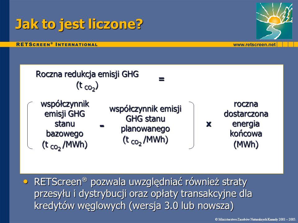 Jak to jest liczone? © Ministerstwo Zasobów Naturalnych Kanady 2001 – 2005. RETScreen ® pozwala uwzględniać również straty przesyłu i dystrybucji oraz