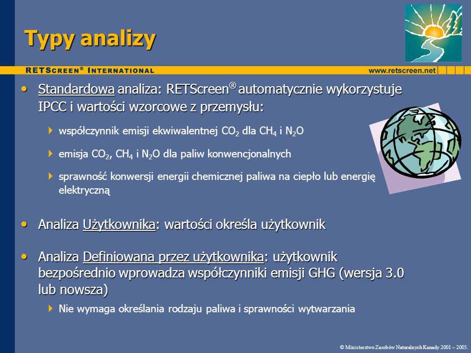 Typy analizy Standardowa analiza: RETScreen ® automatycznie wykorzystuje IPCC i wartości wzorcowe z przemysłu: Standardowa analiza: RETScreen ® automa