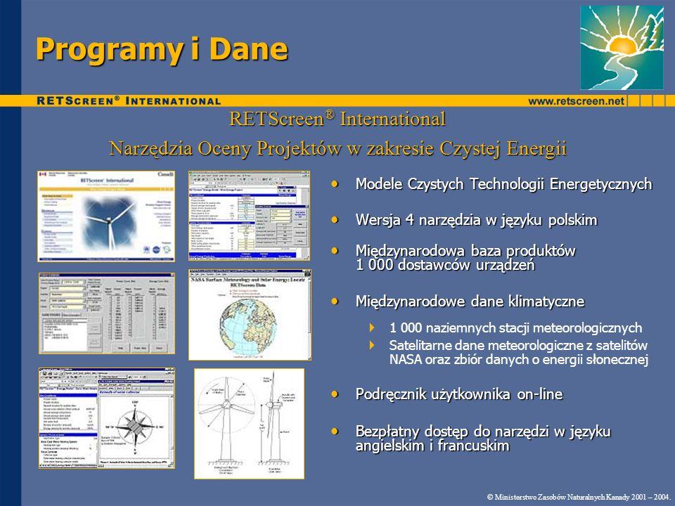 Typy analizy Standardowa analiza: RETScreen ® automatycznie wykorzystuje IPCC i wartości wzorcowe z przemysłu: Standardowa analiza: RETScreen ® automatycznie wykorzystuje IPCC i wartości wzorcowe z przemysłu: współczynnik emisji ekwiwalentnej CO 2 dla CH 4 i N 2 O emisja CO 2, CH 4 i N 2 O dla paliw konwencjonalnych sprawność konwersji energii chemicznej paliwa na ciepło lub energię elektryczną Analiza Użytkownika: wartości określa użytkownik Analiza Użytkownika: wartości określa użytkownik Analiza Definiowana przez użytkownika: użytkownik bezpośrednio wprowadza współczynniki emisji GHG (wersja 3.0 lub nowsza) Analiza Definiowana przez użytkownika: użytkownik bezpośrednio wprowadza współczynniki emisji GHG (wersja 3.0 lub nowsza) Nie wymaga określania rodzaju paliwa i sprawności wytwarzania © Ministerstwo Zasobów Naturalnych Kanady 2001 – 2005..