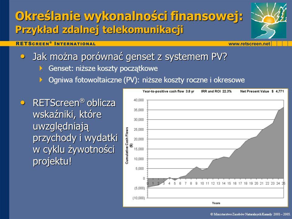 Określanie wykonalności finansowej: Przykład zdalnej telekomunikacji © Ministerstwo Zasobów Naturalnych Kanady 2001 – 2005. Jak można porównać genset