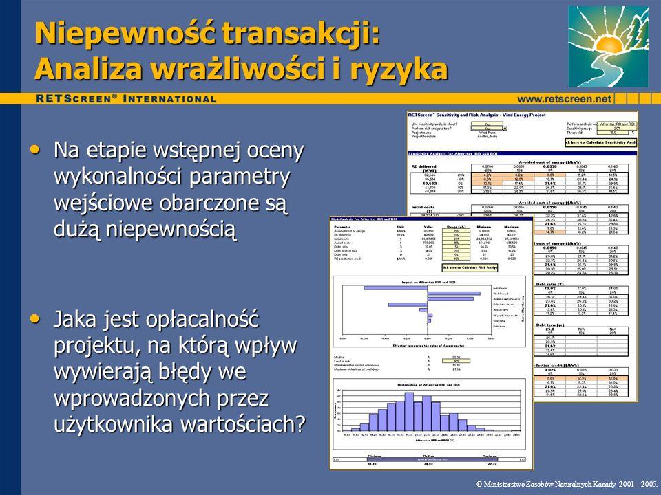 Niepewność transakcji: Analiza wrażliwości i ryzyka Na etapie wstępnej oceny wykonalności parametry wejściowe obarczone są dużą niepewnością Na etapie