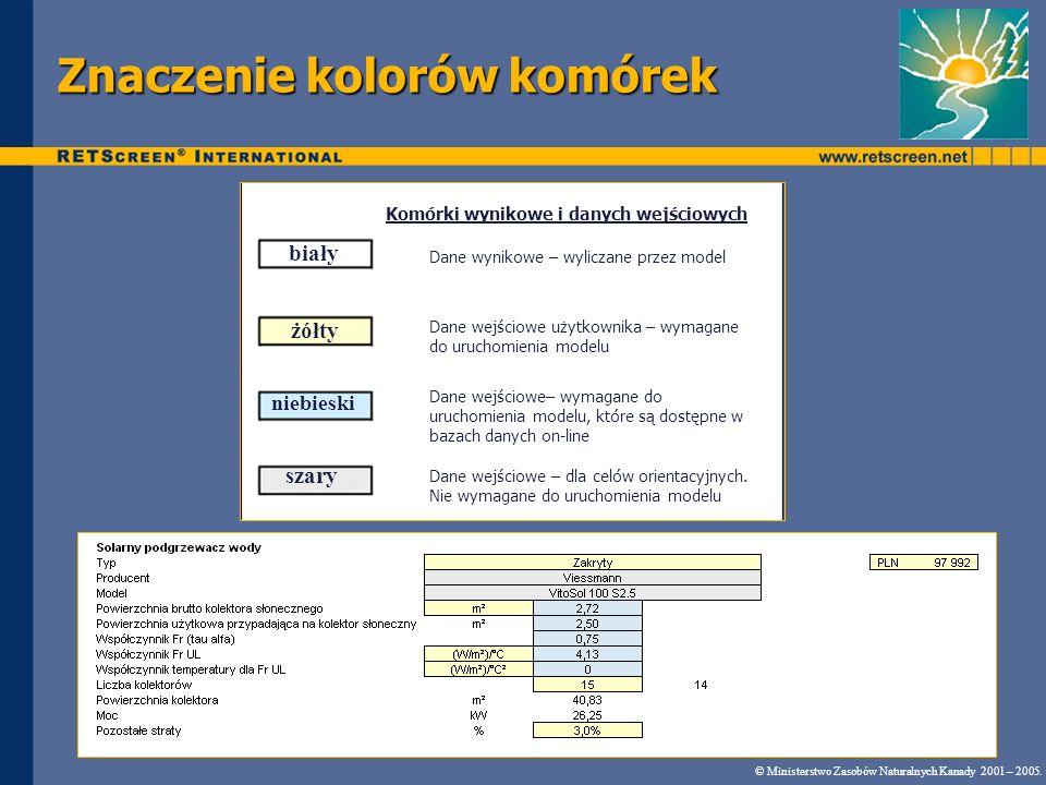Znaczenie kolorów komórek © Ministerstwo Zasobów Naturalnych Kanady 2001 – 2005.. biały żółty niebieski szary Komórki wynikowe i danych wejściowych Da