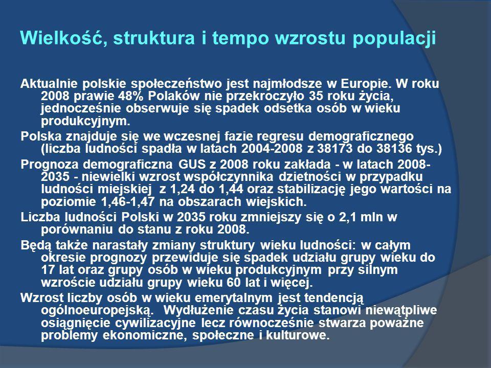 Wielkość, struktura i tempo wzrostu populacji Aktualnie polskie społeczeństwo jest najmłodsze w Europie. W roku 2008 prawie 48% Polaków nie przekroczy