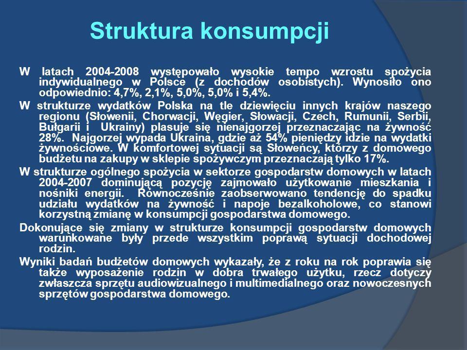 Struktura konsumpcji W latach 2004-2008 występowało wysokie tempo wzrostu spożycia indywidualnego w Polsce (z dochodów osobistych). Wynosiło ono odpow