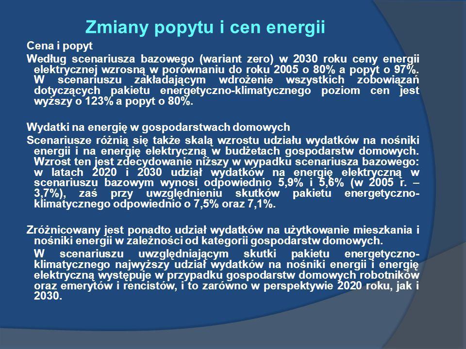 Zmiany popytu i cen energii Cena i popyt Według scenariusza bazowego (wariant zero) w 2030 roku ceny energii elektrycznej wzrosną w porównaniu do roku
