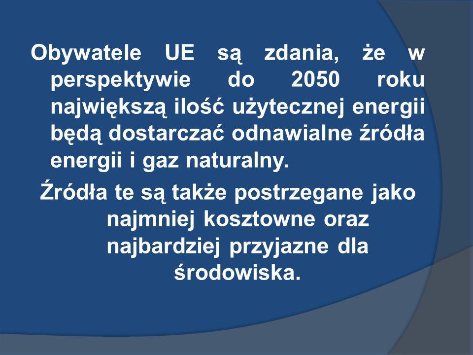 Priorytetowe obszary badań związanych z wytwarzaniem energii dla europejczyków (25 krajów UE): rozwój użycia technologii, które w tej chwili nie mają w UE szerokiego zastosowania - 29% (w Polsce 24%), dla Polaków: ograniczenie zużycia energii – 25% (w UE 20%) w dalszej kolejności : - opracowanie nowych technologii (UE - 23%, Polska 21%), - poprawa technologii aktualnie szeroko stosowanych (UE - 19%, Polska 21%).