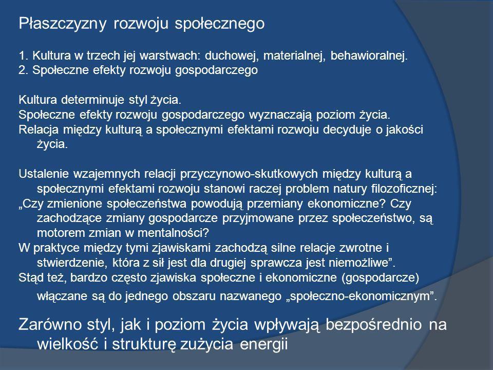 Płaszczyzny rozwoju społecznego 1. Kultura w trzech jej warstwach: duchowej, materialnej, behawioralnej. 2. Społeczne efekty rozwoju gospodarczego Kul