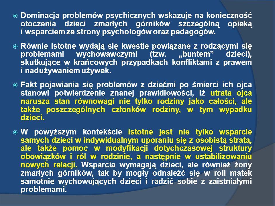 Dominacja problemów psychicznych wskazuje na konieczność otoczenia dzieci zmarłych górników szczególną opieką i wsparciem ze strony psychologów oraz p