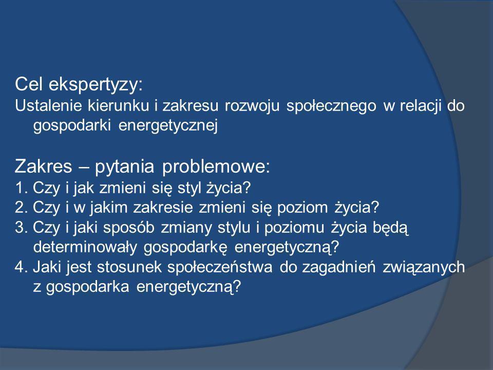 Cel ekspertyzy: Ustalenie kierunku i zakresu rozwoju społecznego w relacji do gospodarki energetycznej Zakres – pytania problemowe: 1. Czy i jak zmien