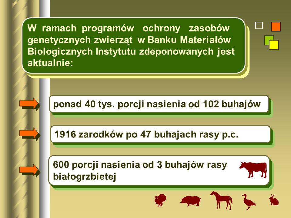 W ramach programów ochrony zasobów genetycznych zwierząt w Banku Materiałów Biologicznych Instytutu zdeponowanych jest aktualnie: ponad 40 tys. porcji