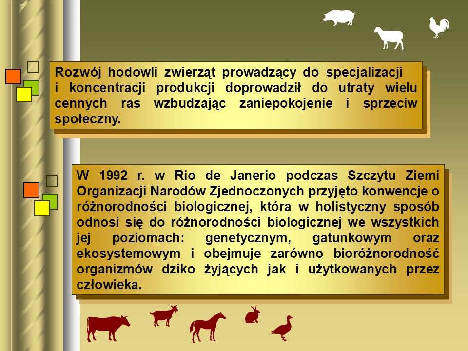 Rozwój hodowli zwierząt prowadzący do specjalizacji i koncentracji produkcji doprowadził do utraty wielu cennych ras wzbudzając zaniepokojenie i sprze