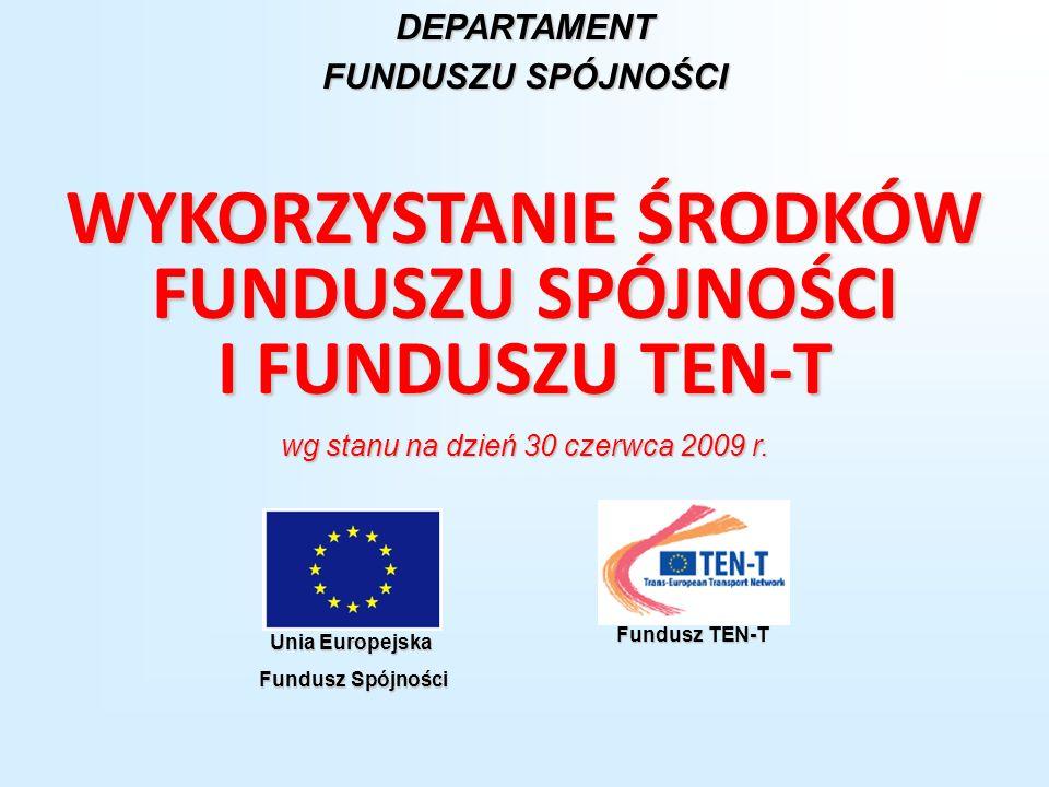 WYKORZYSTANIE ŚRODKÓW FUNDUSZU SPÓJNOŚCI I FUNDUSZU TEN-T wg stanu na dzień 30 czerwca 2009 r. DEPARTAMENT FUNDUSZU SPÓJNOŚCI Unia Europejska Fundusz
