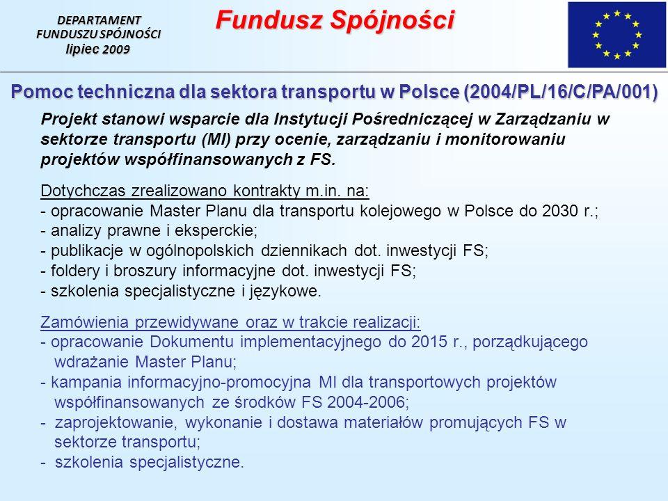 Projekt stanowi wsparcie dla Instytucji Pośredniczącej w Zarządzaniu w sektorze transportu (MI) przy ocenie, zarządzaniu i monitorowaniu projektów współfinansowanych z FS.