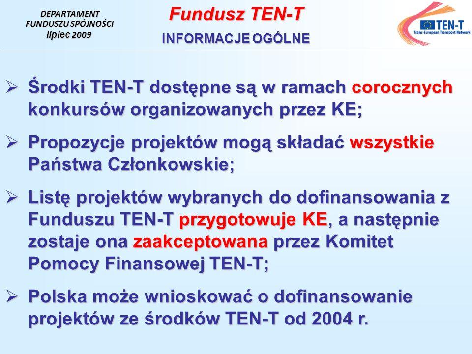 DEPARTAMENT FUNDUSZU SPÓJNOŚCI lipiec 2009 Fundusz TEN-T INFORMACJE OGÓLNE Środki TEN-T dostępne są w ramach corocznych konkursów organizowanych przez KE; Środki TEN-T dostępne są w ramach corocznych konkursów organizowanych przez KE; Propozycje projektów mogą składać wszystkie Państwa Członkowskie; Propozycje projektów mogą składać wszystkie Państwa Członkowskie; Listę projektów wybranych do dofinansowania z Funduszu TEN-T przygotowuje KE, a następnie zostaje ona zaakceptowana przez Komitet Pomocy Finansowej TEN-T; Listę projektów wybranych do dofinansowania z Funduszu TEN-T przygotowuje KE, a następnie zostaje ona zaakceptowana przez Komitet Pomocy Finansowej TEN-T; Polska może wnioskować o dofinansowanie projektów ze środków TEN-T od 2004 r.