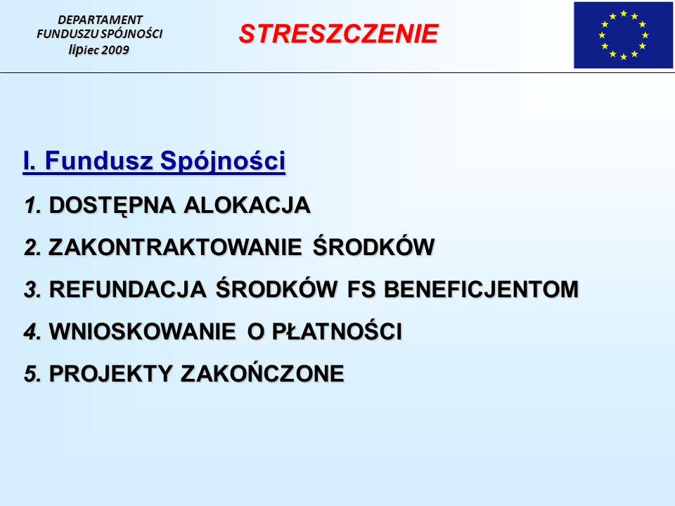 DEPARTAMENT FUNDUSZU SPÓJNOŚCI lip iec 2009 I.Fundusz Spójności 1.