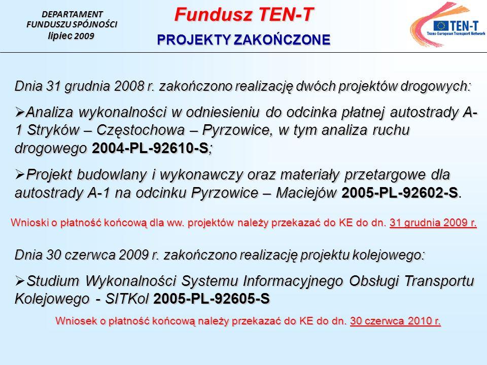 DEPARTAMENT FUNDUSZU SPÓJNOŚCI lipiec 2009 Fundusz TEN-T PROJEKTY ZAKOŃCZONE Dnia 31 grudnia 2008 r.