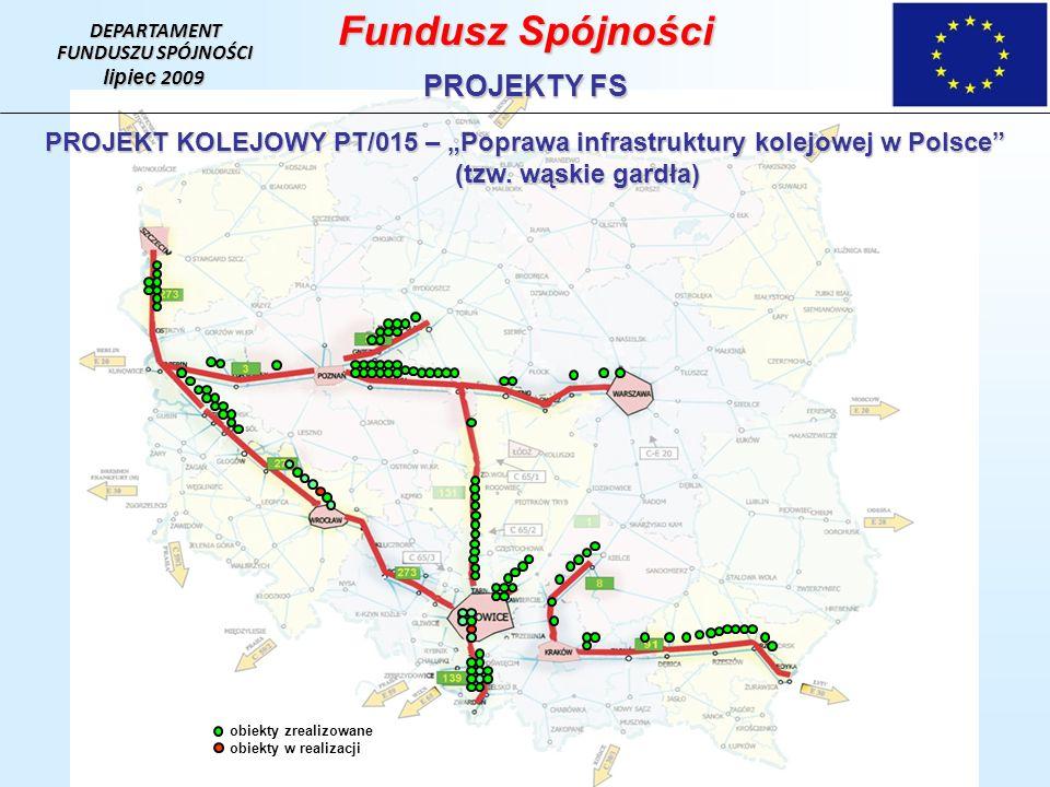 DEPARTAMENT FUNDUSZU SPÓJNOŚCI lipiec 2009 Fundusz Spójności PROJEKTY FS PROJEKT KOLEJOWY PT/015 – Poprawa infrastruktury kolejowej w Polsce (tzw.