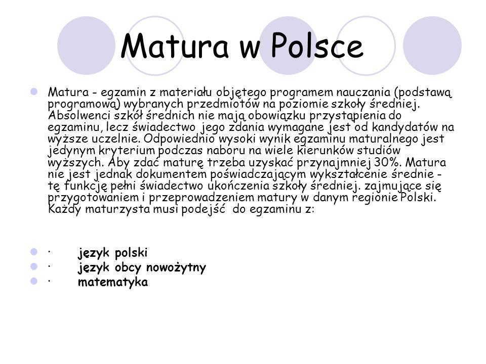 Matura w Polsce Matura - egzamin z materiału objętego programem nauczania (podstawą programową) wybranych przedmiotów na poziomie szkoły średniej.