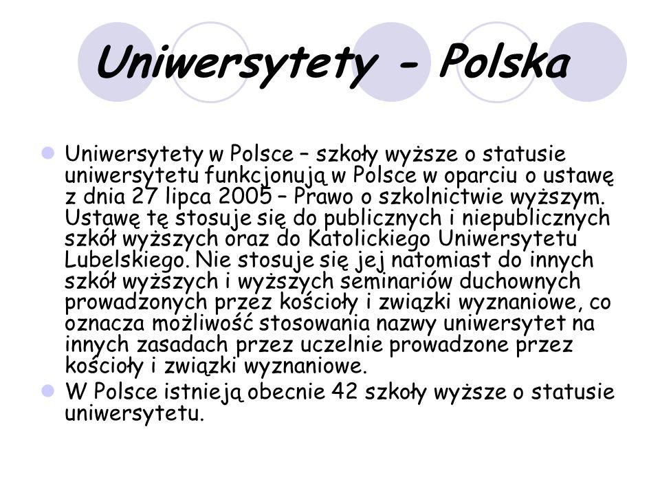 Uniwersytety - Polska Uniwersytety w Polsce – szkoły wyższe o statusie uniwersytetu funkcjonują w Polsce w oparciu o ustawę z dnia 27 lipca 2005 – Prawo o szkolnictwie wyższym.