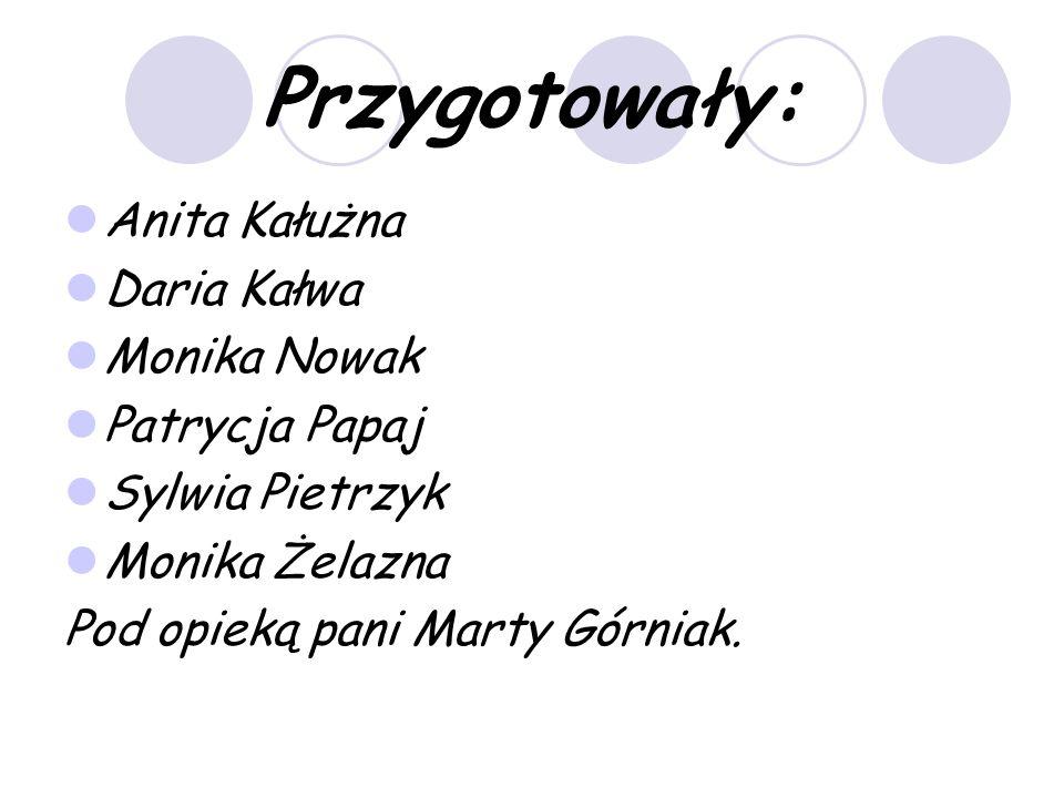 Przygotowały: Anita Kałużna Daria Kałwa Monika Nowak Patrycja Papaj Sylwia Pietrzyk Monika Żelazna Pod opieką pani Marty Górniak.