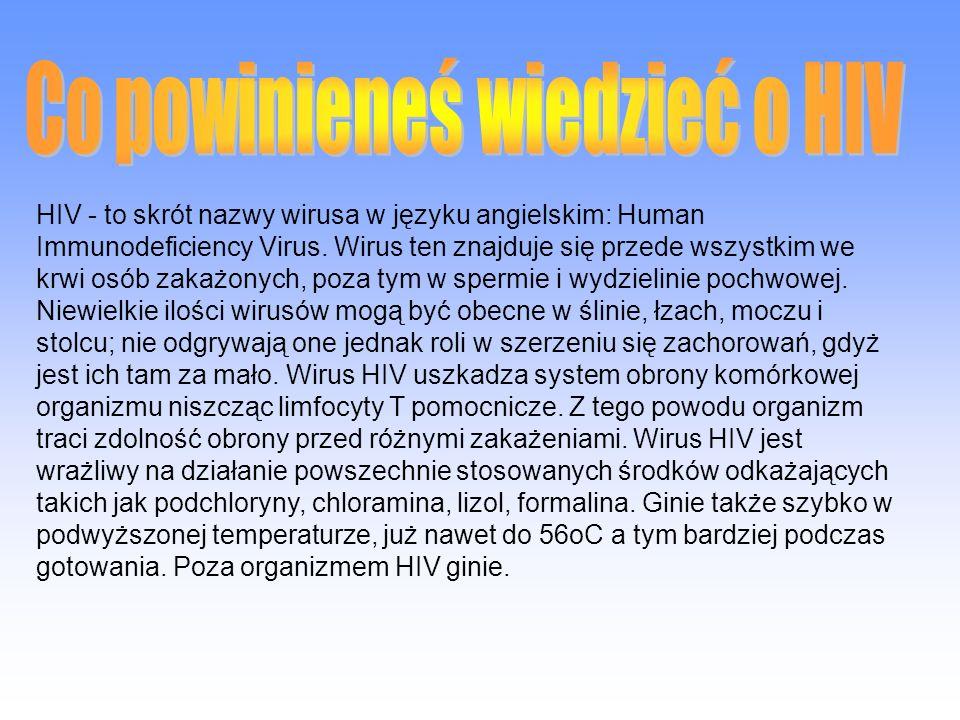 AIDS - to skrót nazwy choroby w języku angielskim: Acquired Immune Deficiency Syndrome, co po polsku tłumaczymy jako