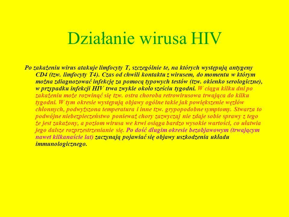 Działanie wirusa HIV Po zakażeniu wirus atakuje limfocyty T, szczególnie te, na których występują antygeny CD4 (tzw. limfocyty T4). Czas od chwili kon