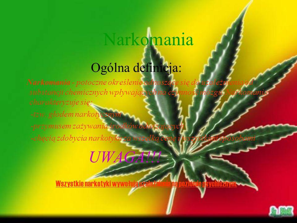 Narkomania W zależności od stosowanego środka uzależniającego zastosowano podział na: -morfinizm - uzależnienie od zażywania morfiny -kokainizm - uzależnienie od zażywania kokainy -heroinizm - uzależnienie od zażywania heroiny -alkoholizm - uzależnienie od zażywania alkoholu
