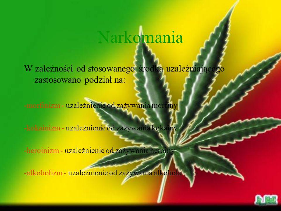 Narkomania W zależności od stosowanego środka uzależniającego zastosowano podział na: -morfinizm - uzależnienie od zażywania morfiny -kokainizm - uzal