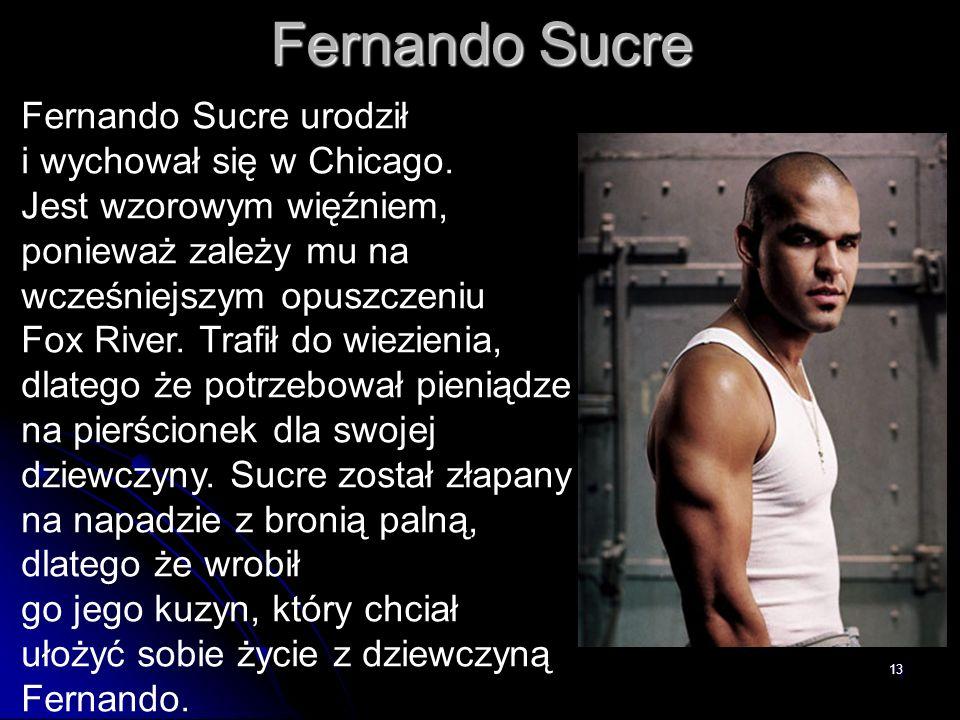 13 Fernando Sucre Fernando Sucre urodził i wychował się w Chicago. Jest wzorowym więźniem, ponieważ zależy mu na wcześniejszym opuszczeniu Fox River.