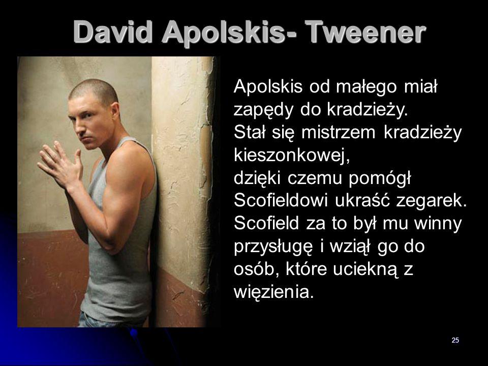 25 David Apolskis- Tweener Apolskis od małego miał zapędy do kradzieży. Stał się mistrzem kradzieży kieszonkowej, dzięki czemu pomógł Scofieldowi ukra