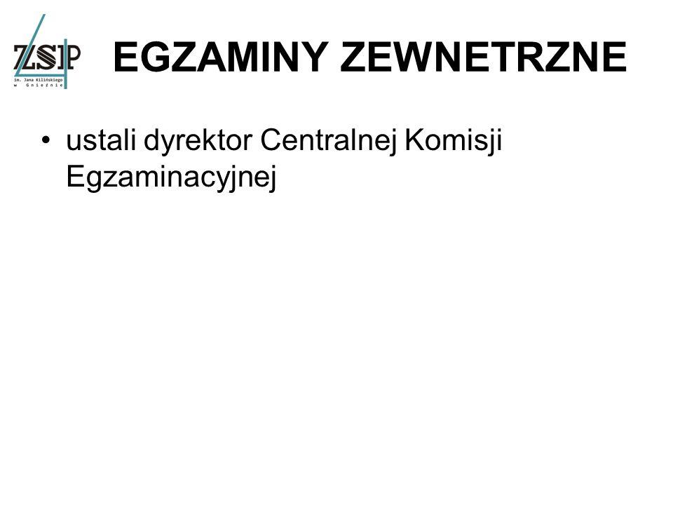 EGZAMINY ZEWNETRZNE ustali dyrektor Centralnej Komisji Egzaminacyjnej