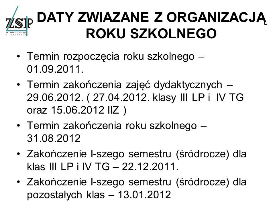 DATY ZWIAZANE Z ORGANIZACJĄ ROKU SZKOLNEGO Termin rozpoczęcia roku szkolnego – 01.09.2011.