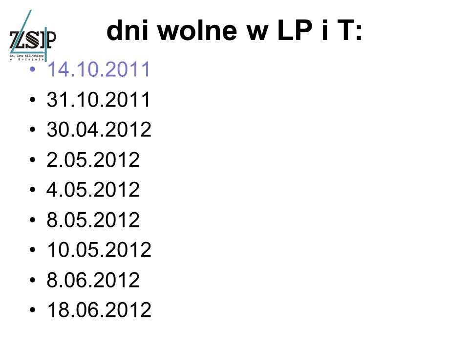 dni wolne w LP i T: 14.10.2011 31.10.2011 30.04.2012 2.05.2012 4.05.2012 8.05.2012 10.05.2012 8.06.2012 18.06.2012