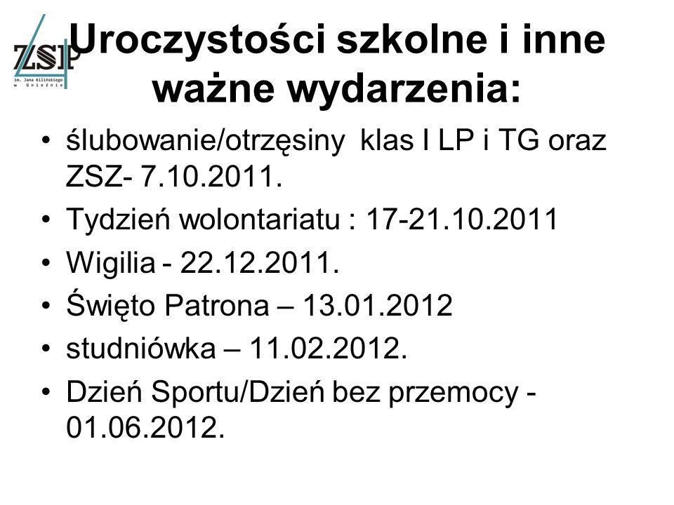 Uroczystości szkolne i inne ważne wydarzenia: ślubowanie/otrzęsiny klas I LP i TG oraz ZSZ- 7.10.2011.