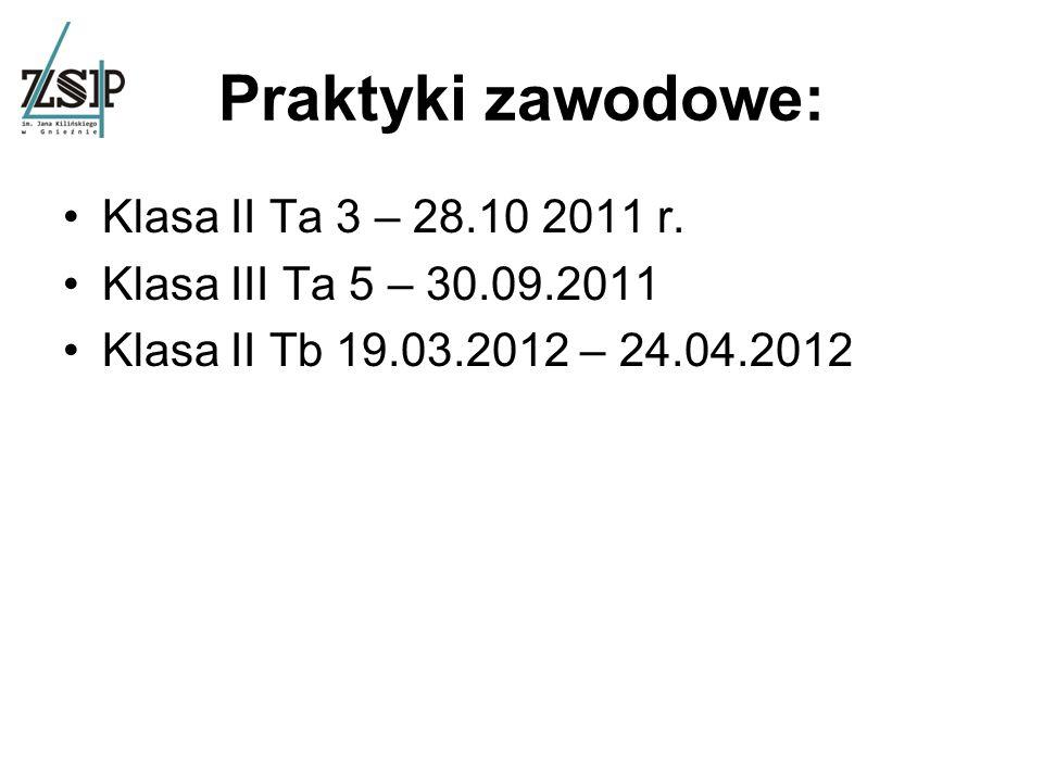 Szkolne wycieczki: wrzesień 2011. ostatnie 2 tygodnie maja – pierwsze 2 tygodnie czerwca 2012.