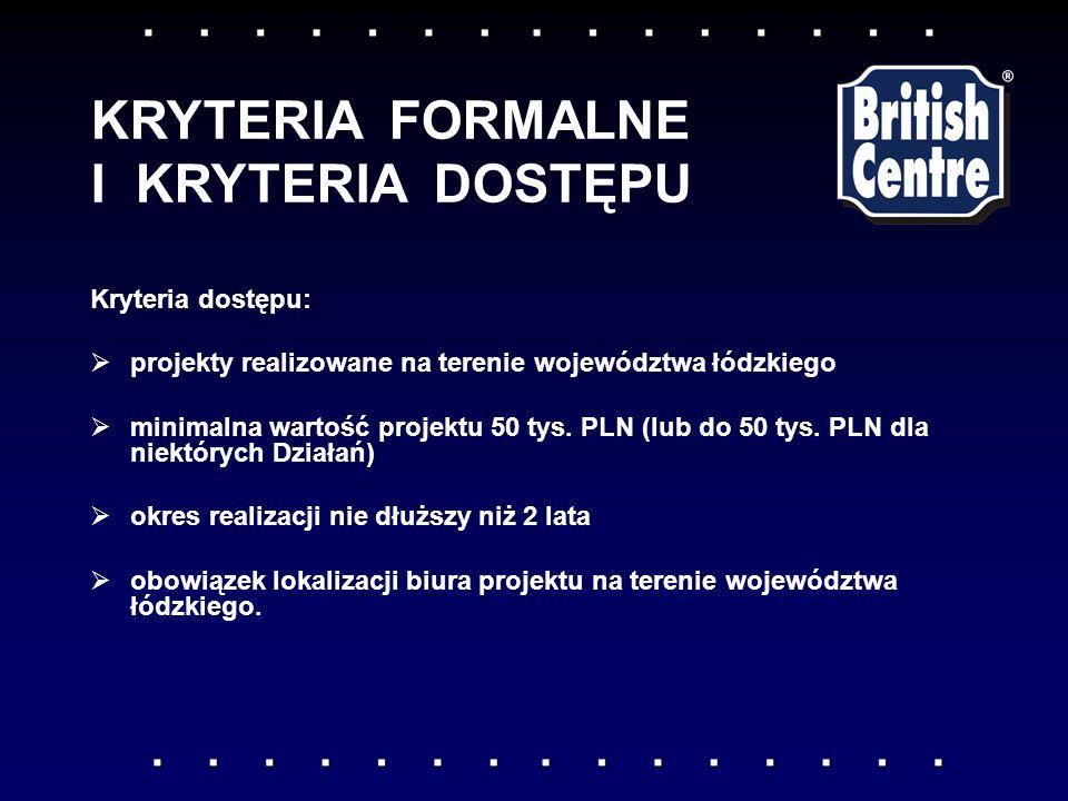 Kryteria dostępu: projekty realizowane na terenie województwa łódzkiego minimalna wartość projektu 50 tys.