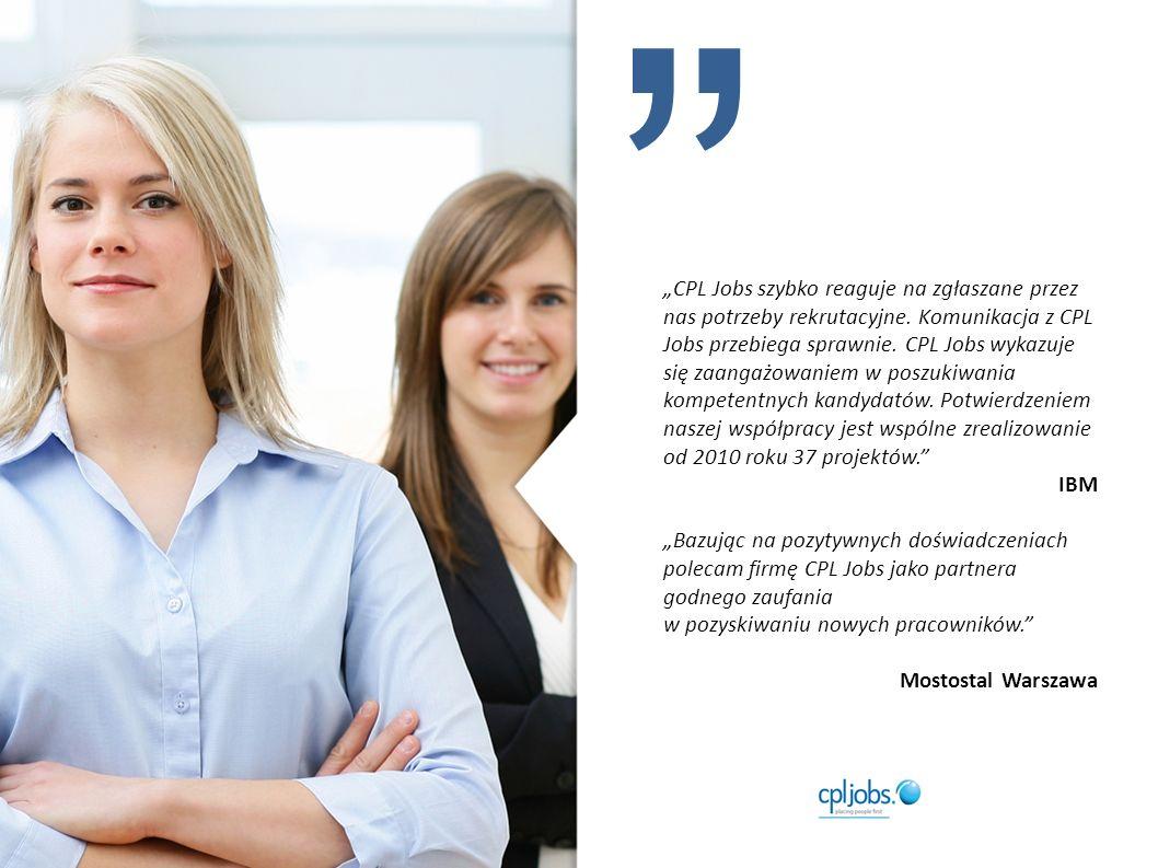 CPL Jobs szybko reaguje na zgłaszane przez nas potrzeby rekrutacyjne.