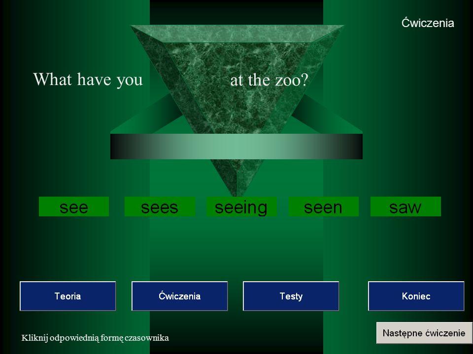 Ćwiczenia Kliknij odpowiednią formę czasownika What have you at the zoo?