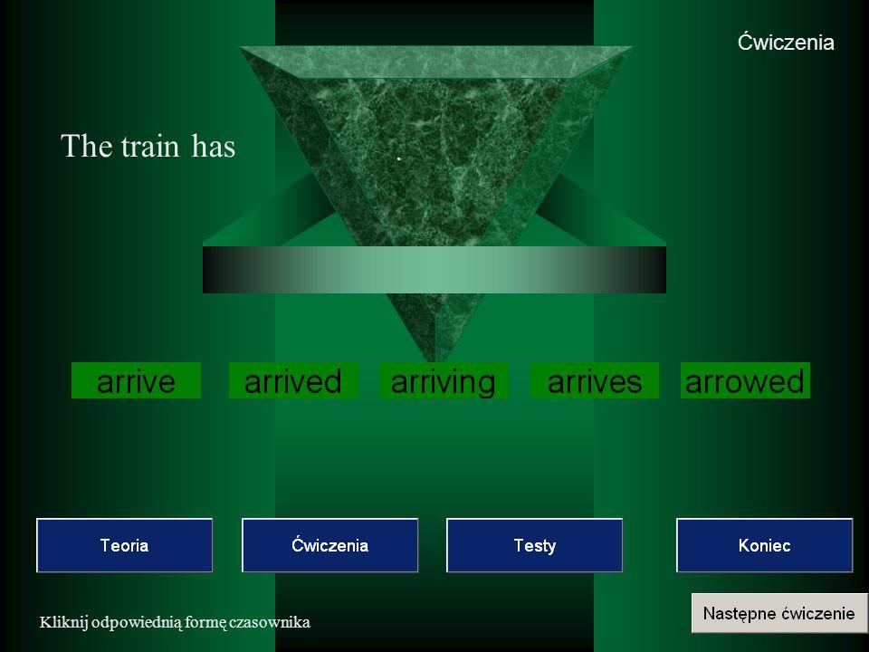 Ćwiczenia Kliknij odpowiednią formę czasownika The train has.