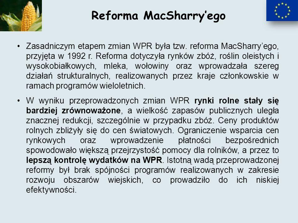 Zasadniczym etapem zmian WPR była tzw.reforma MacSharryego, przyjęta w 1992 r.