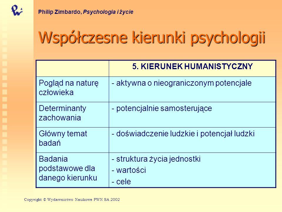 Współczesnekierunkipsychologii Współczesne kierunki psychologii Philip Zimbardo, Psychologia i życie 5.